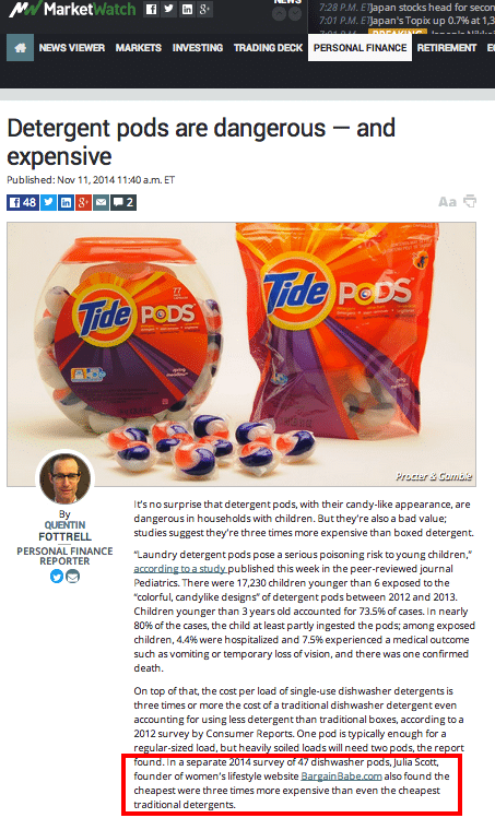 Wall Street Journal interviews Bargain Babe about the cost of detergent pods